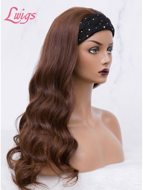 Chocolate Brown Headband Wave Wig 100% Brazilian Virgin Human Hair Lace Wig Body Wave Hair Lwigs380