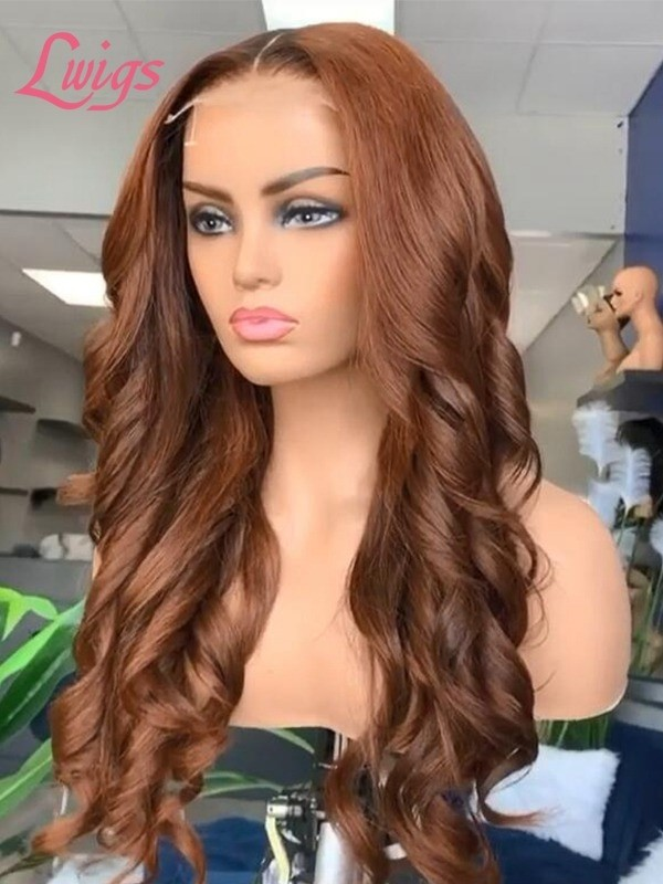 Coffer Brown Color Loose Body Wave Full Lace Wig Pre Plucked Hairline Lwigs85