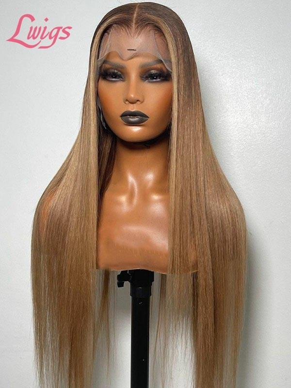 Customized Virgin Hair Ash Blonde Color Silky Straight Hair Plucked Hairline Glueless Lace Frontal Wig Lwigs94