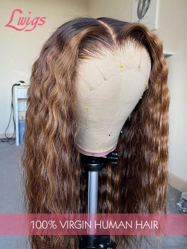 Deep Wave Ombre Brown Pre Plucked Hairline Middle Part Highlight Hair 360 Lace Wig Beginners Friendly Glueless Lace Frontal Wig Lwigs360