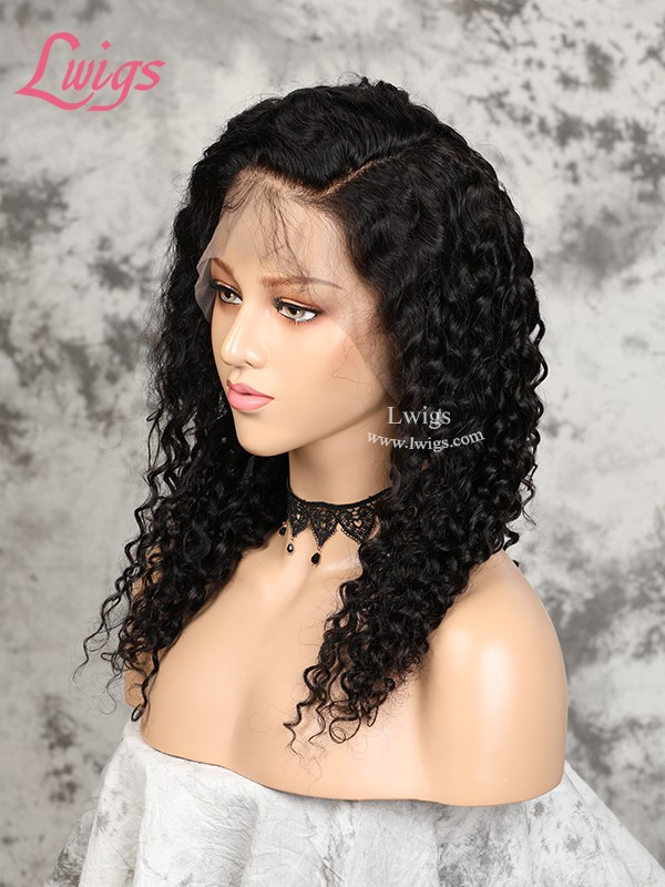 Free Shipping Undetectable Lace Wig Deep Curly Virgin Human Hair Pre-Plucked 360 Lace Wigs LWigs173
