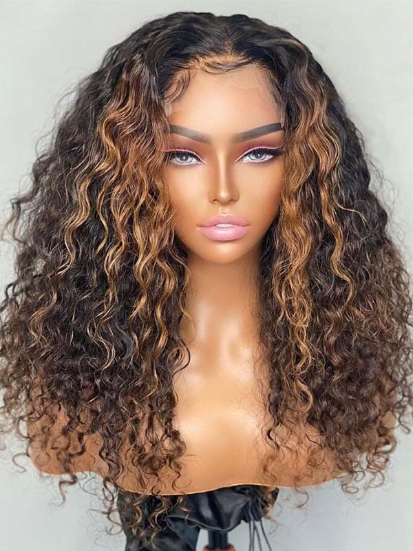 Glueless HD 360 Lace Wig Deep Culrs Honey Brown Highlights Hair Trends 360W02