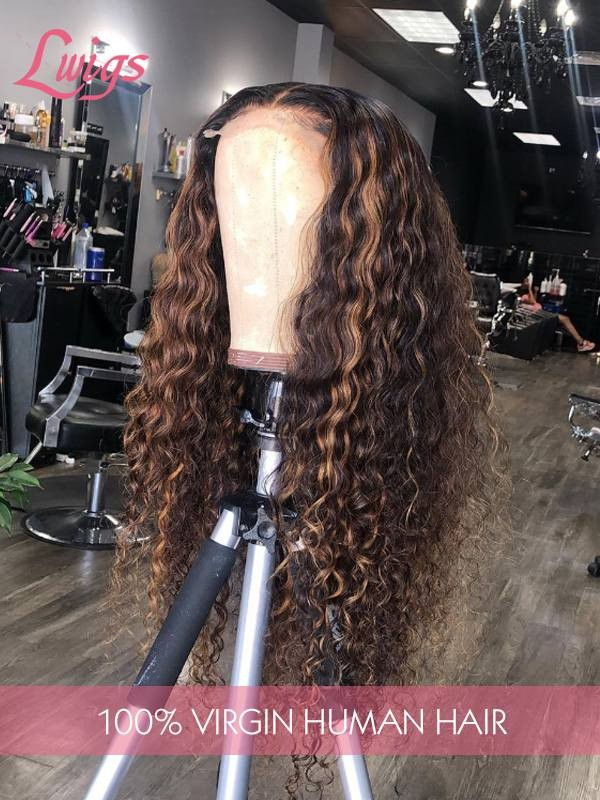 HD Lace Peruvian Virgin Hair 13X6 Lace Front Human Hair Wigs Highlight Color Curly Human Hair Lace Front Wigs [LWigs119]