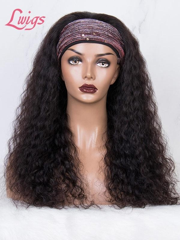 Headband Wig Water Wave Human Hair Wigs With Headband Brazilian Hair Full Machine Made Wig For Black Women Lwigs381
