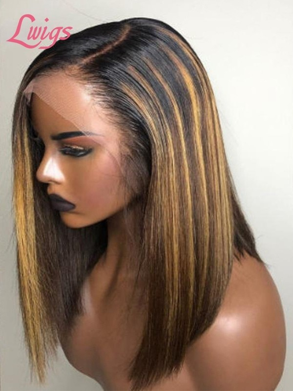Highlight Color Straight Short Bob Lace Wig Undetectable Lace With Fake Scalp [MAX05]
