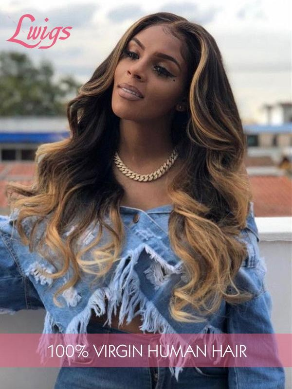 HD Lace Fashion Ombre Blonde Color Body Wave Bleached Knots 360 Lace Wig With Pre-plucked Hairline  [LWigs182]