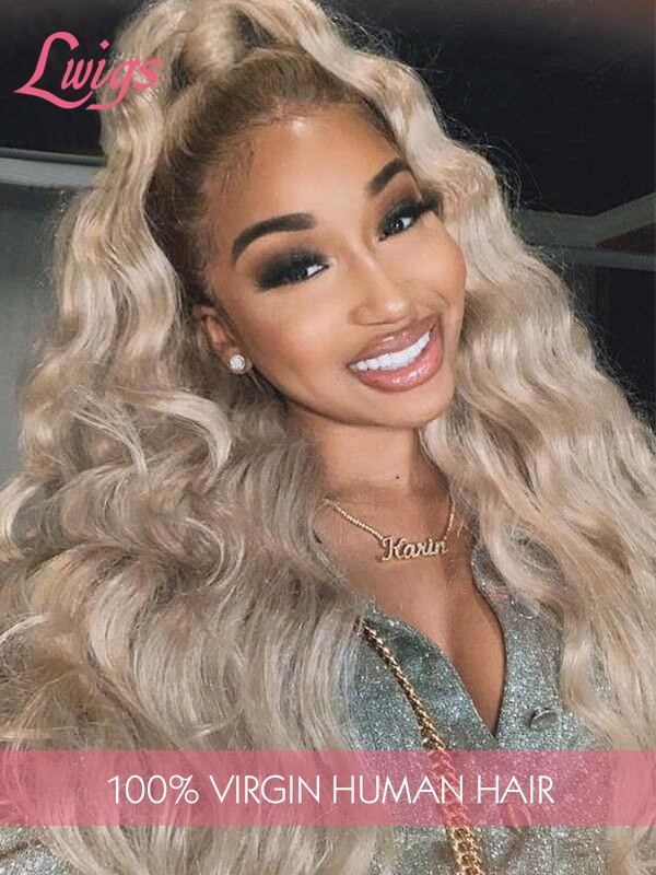 Hot Sale Ombre Color Brzilian Virgin Human Hair Body Wave Lace Front Wig With Undetectable HD Lace Pre Plucked Hairline Lwigs297