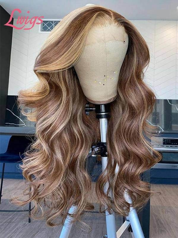 Hot Selling 2021 Undetectable HD Lace Wig 134 Lace Front Wig High Light Color Body Wave Wig TS06
