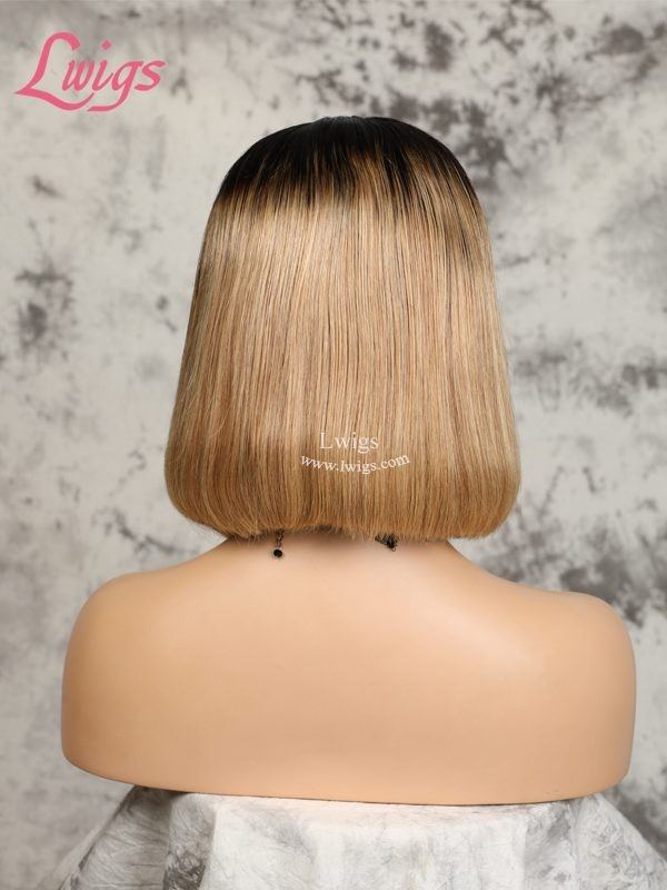 Hot Selling Ombre Color Bob Wig Pre-plucked Natural Hairline Indian Remy Hair 360 Dream Swiss Lace Wigs [LWIGS181]