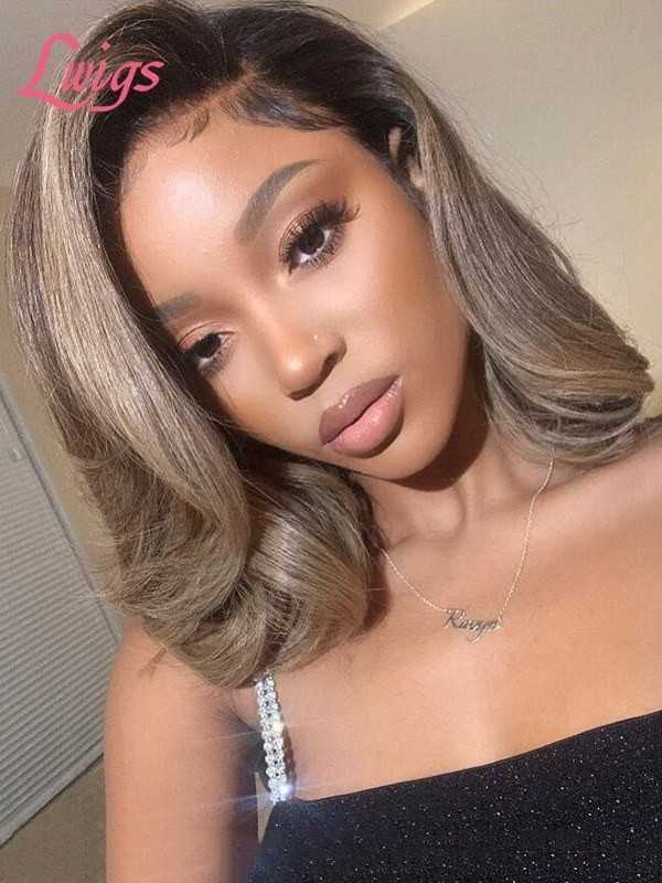 Hottest Linen Short Hair Bob Cut Style Ombre Blond Brown Natural Wave Lace Front Wig Undetectable HD Lace Peruvian Human Hair Wigs With Single Knots Natural Hairline Lwigs343