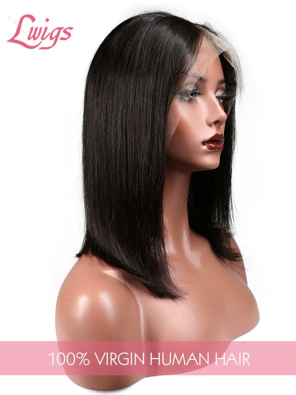 Natural Color Bob Style Indian Remy Hair Lace Wigs Pre Plucked Hairline With Baby Hair Lace Front Wigs [LWigs76]
