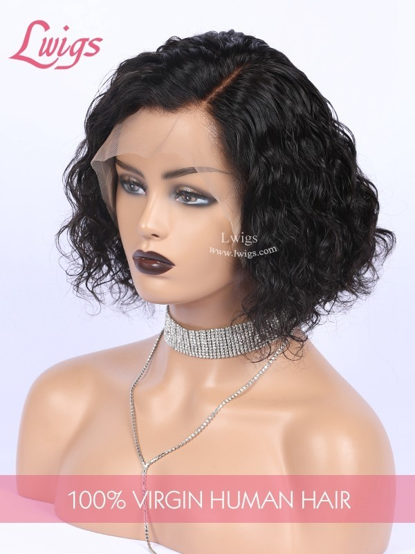 5*5 Invisible HD Dream Lace Wig Short  Deep Wave Lace Frontal Wigs Pre Plucked Hairline Single Knots Bleached Virgin Human Hair Wig Lwigs329