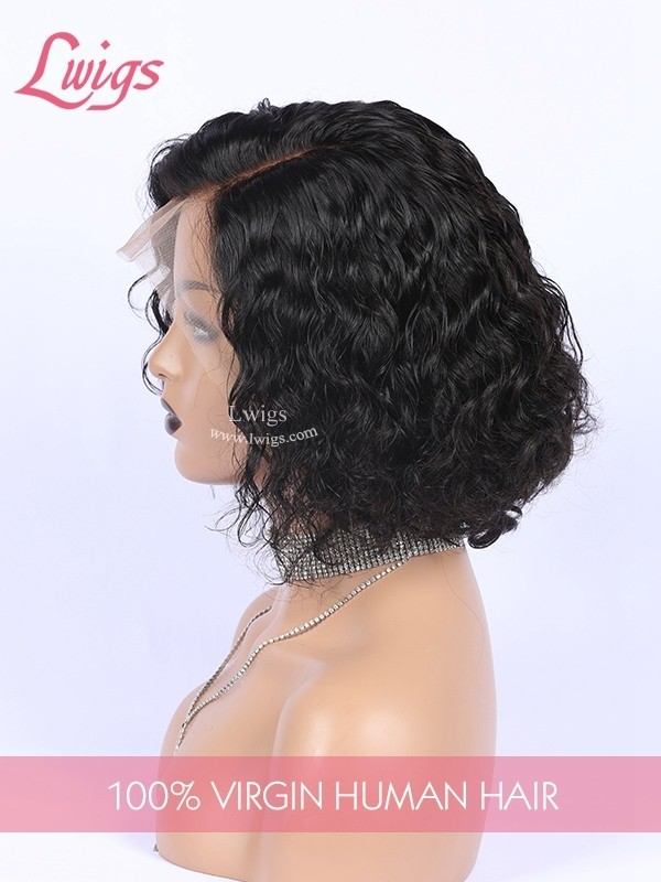 Glueless Invisible HD Dream Lace 250% High Density Short Hair Deep Wave Curly 13*6 Lace Frontal Wigs Pre Plucked Hairline Single Knots Bleached Virgin Human Hair Wig Lwigs329