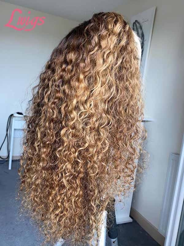 Loose Deep Curly Pre Colored Frontal Wig Undetectable HD Lace Human Hair 13x6 Lace Wig With Plucked Sight Knots Lwigs384