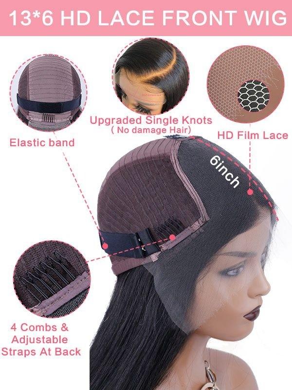 Brazilian Virgin Hair Black Color Short Bob Style Straight 13x6 Lace Front Wigs [LWIGS226]