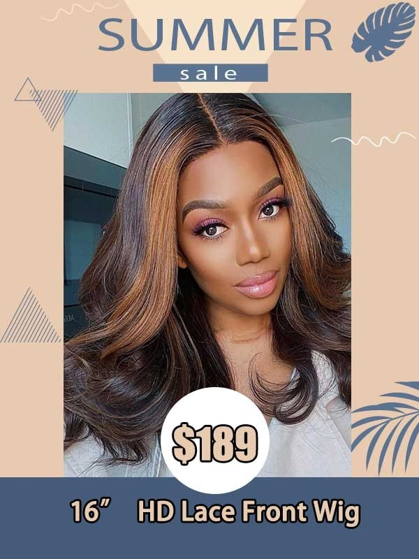 Lwigs Summer Sale 136 HD Lace Front Wig Brazilian Virgin Human Hair Highlight Color With Wavy Hair SS01