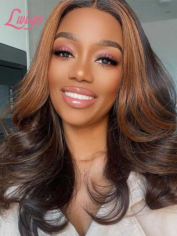 Lwigs Summer Sale 13*6 HD Lace Front Wig Brazilian Virgin Human Hair Highlight Color With Wavy Hair SS01