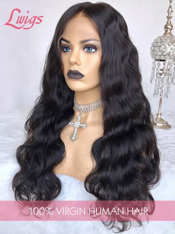 Malaysian Virgin Hair Pre-Plucked Natural Hairline Wavy Wig With Baby Hair 360 Lace Frontal Wig [LWIGS201]