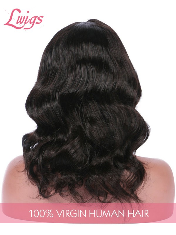 Natural Color Short Wave Lace Wigs Pre Plucked Hairline With Baby Hair Peruvian Virgin Human Hair Lace Front Wigs