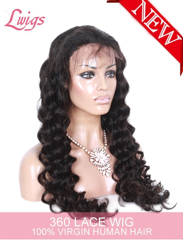 Pre-plucked Brazilian Virgin Human Hair Wigs For Black Women Loose Curly Wigs With Baby Hair 360 Lace Wigs
