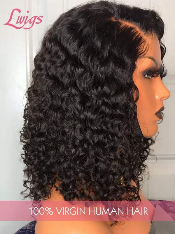 New Arrival Elastic Band Undetectable HD Dream Swiss Lace 13X6 Curly Wavy 360 Lace Front Wig With Fake Scalp Lwigs243
