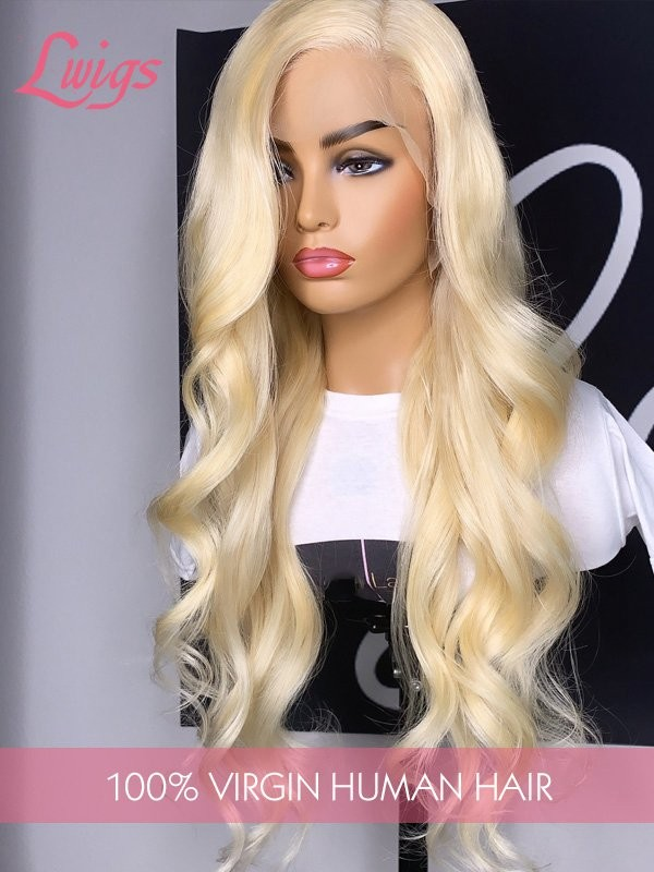 New Arrival Must Have 100% Virgin Hair Body Wave #613 Blonde Color Lace Front Human Hair Wig Lwigs277