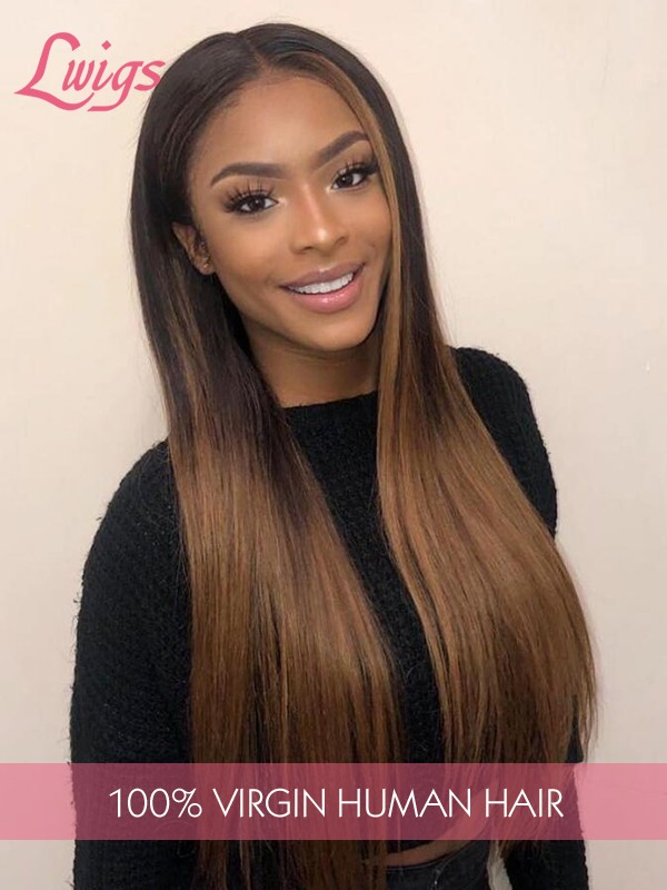 New Arrival Ombre Color 360 Lace Wigs Silk Straight Hair 100% Peruvian Human Hair Wig WIth Undetectable HD Lace Highlight Custom Wig Lwigs302