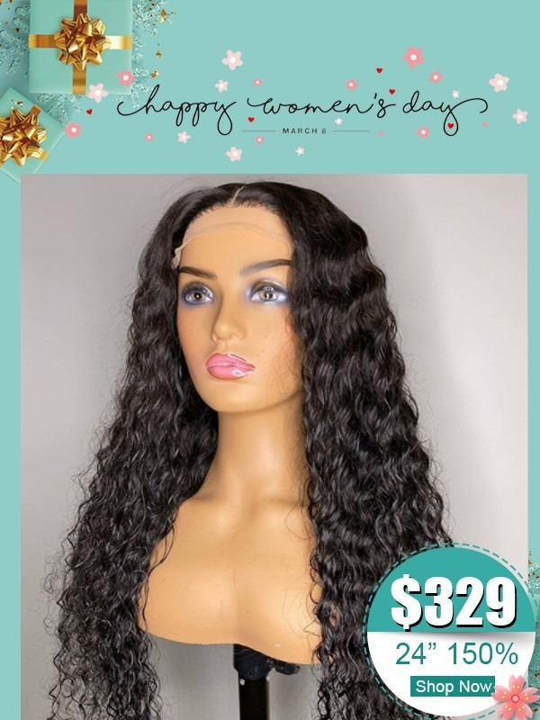 New Arrival Undetectable HD Lace Wig Curly 6 Deep Parting Lace Front Wig  Brazilian Virgin Human Hair Curly Wig For Women's Day WM01