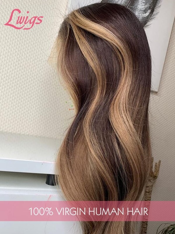 New Shipped Ombre Honey Brown Dream HD Lace Frontal Human Hair Wigs Wavy/ Straight Highlights Ash Blonde Brown 360 Lace Wig Pre Plucked Full End Lwigs335