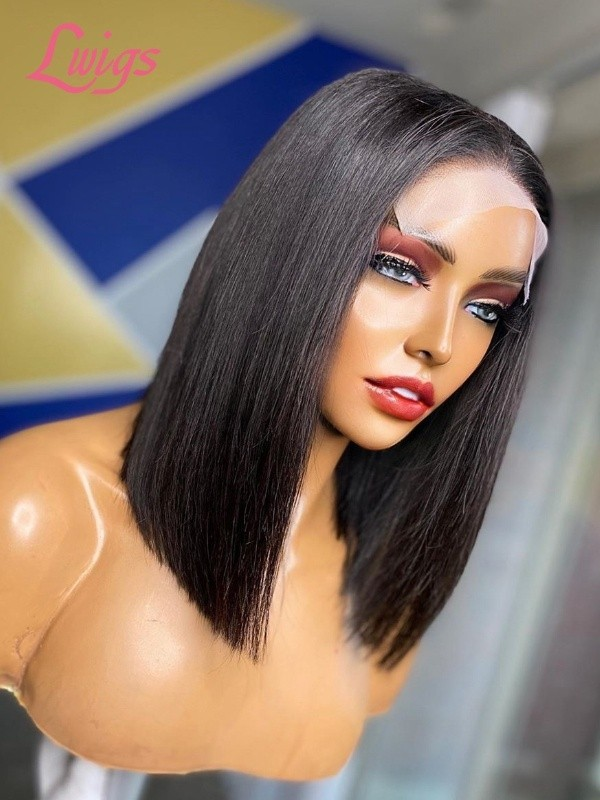 New Update Bob Style Silk Top 4x4 Lace Closure Wig Bob Hair Cut Lace Frontal Wig 100% Human Hair Lace Closure Wigs Natural Hairline Lwigs358
