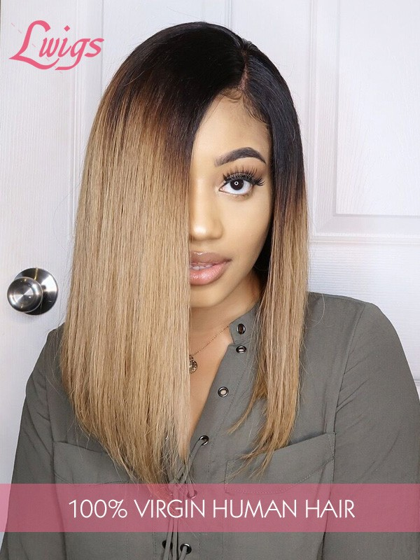 Straight Ombre Color 1b/30# Brazilian Virgin Hair 8A Grade Bob Style 13x6 Lace Front Wigs [LWIGS135]