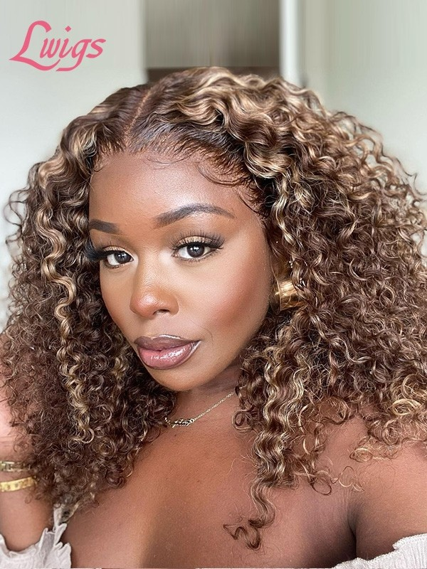 """Ombre Ash Blond Human Hair Undetectable HD Lace Front Wig Kinky Curly 6"""" Deep Parting Invisible HD Lace Wig For Girls Lwigs112"""