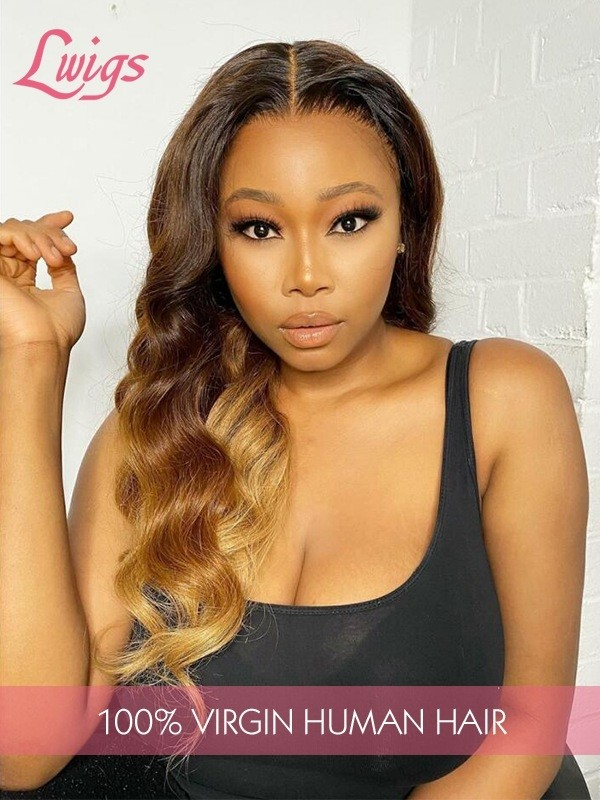Ombre Chestnut Brown With Honey- brown Hair End Soft Virgin Hair 360 Lace Wig Body Wave Frontal Wigs Hairline Pre Plucked Lwigs359