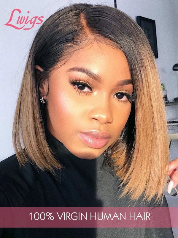 Pre Plucked Hairline Straight Short Bob Style Human Hair Wigs Brazilian Virgin Hair Lace Front Wigs