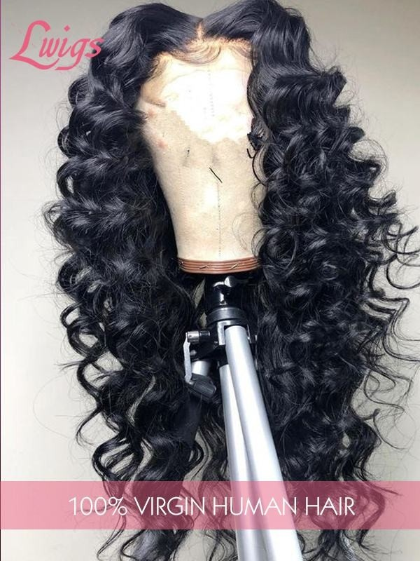 Pre-Plucked Hairline Undetectable Lace Wig Human Wave Curly Hair Styles Peruvian Virgin Hair 360 Lace Wigs [LWigs162]