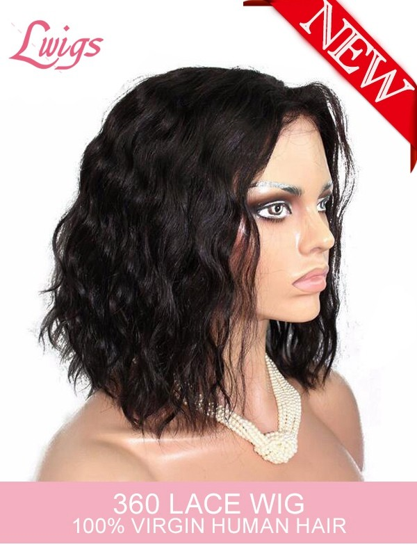 360 Lace Human Hair Wigs For Black Women Brazilian Virgin Hair Wig Shot Natural  Wave 360 lace wigs LWigs187