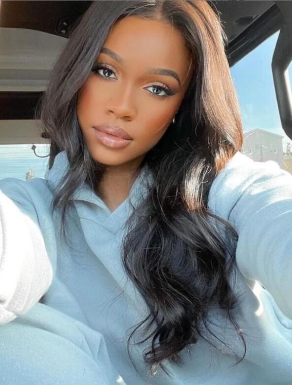 Brazilian Virgin Human Hair Lace Front Wig Bleached Knots Silky Straight Middel Part Human Hair Wigs LWigs39