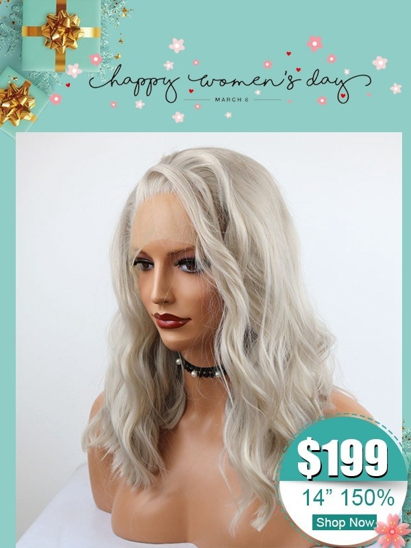 $199 Sex Women's Ash Grey Blonde Color Frontal Lace Wig Pre Plucked Hairline Brazlian Virgin Human Hair Swiss Lace Wigs WD05