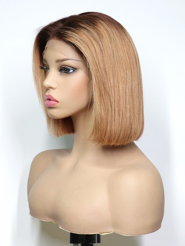 Short Hair Magic Glamorous Ash Blonde Brown Ombre Color Bob Lace Wig Dream Lace Frontal Wigs Single Knots Lwigs346