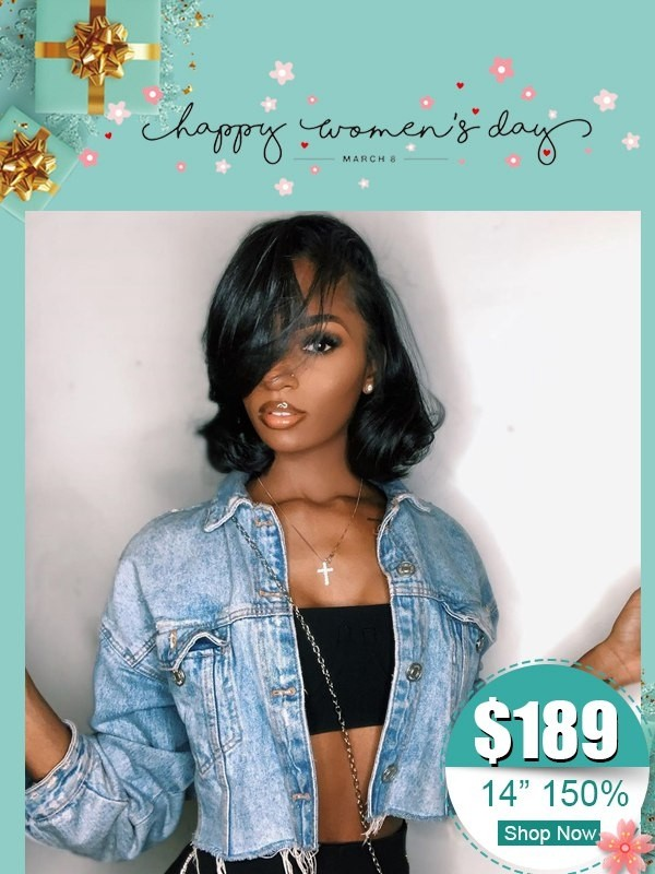 Short Wave Brazilian Virgin Human Hair Wig Undetectable HD Lace With Pre-Plucked Hairline Side Part Wave Wig WD04