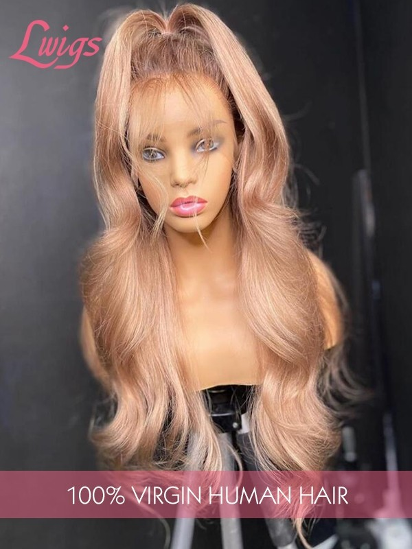 2020 Summer Sandy Beige Peach Color Body Wave 13x6 Lace Frontal Wig Preuvian Human Hair Dream HD Lace Wig With Hairline Plucked lwigs353