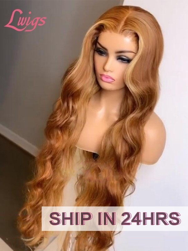 Sunshine Orange Brown Wavy Hair 13X6 Lace Frontal Wig Pre Plucked Hairline Film Dream HD Lace Wigs Blonde Highlights Color Glueless Frontal Lace Unit Lwigs361