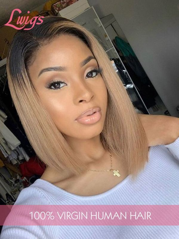 Two Tone Ombre Color #1b14 Light Brown Short Bob Style 100% Brazilian Virgin Human Hair 13X6 Lace Front Wigs [LWigs66]