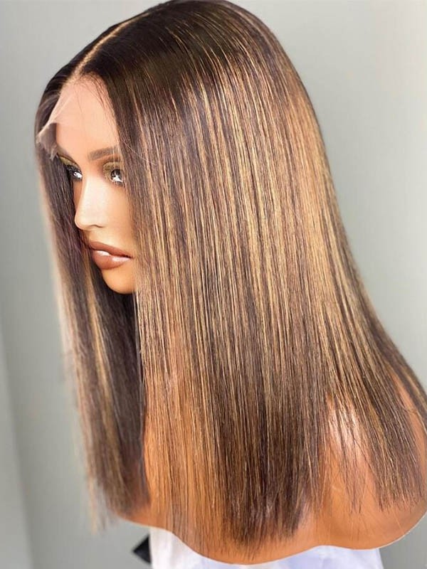 Undetectable HD 360 Lace Wig Highlights Bob Blunt Wig Glueless Install Virgin Hair 360W01