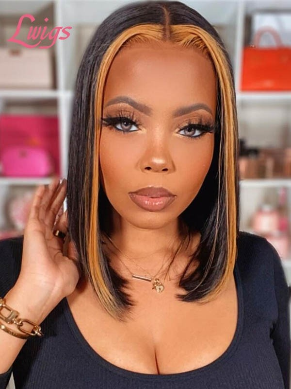 Undetectable HD Lace Mix Color Highlight Two Tone Color Short Bob Wig Middle Part Hair Style 180% Density Lace Front Wigs LWIGS100