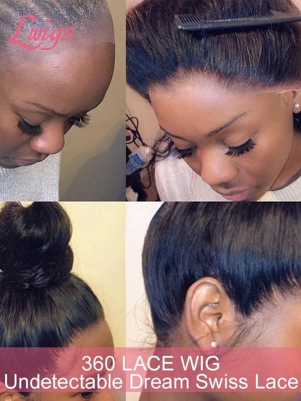 180% Density Human Hair Wigs With HD Lace 360 Lace Wig Deep Curls Brazilian Virgin Hair Pre-Plucked For Black Women 360 Lace Wigs [LWIGS40]
