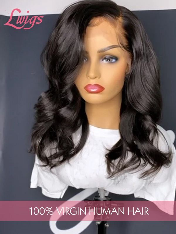 Unprocessed Glueless Peruvian Virgin Human Hair Natural Wave Full Lace Wigs