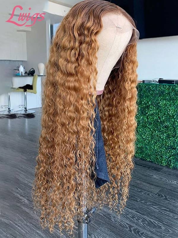 Unprocessed Ombre Blonde Color Curly Hair Style U-Part Lace Wigs With Thick Hair  [LWigs50]
