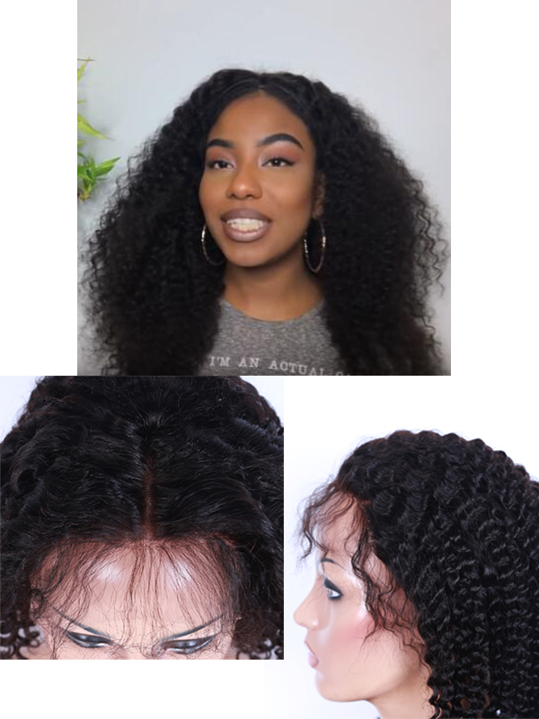 natural ,suitable ,beauty ,kinky curly lace front wig